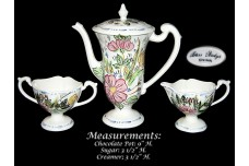 Blue Ridge Rose Marie Chocolate Pot Set - GREAT COLOR