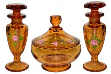 Cambridge Amber Vanity Set (#581 Puff Box & 2 #198 Cologne Bottles / Perfumes) DECORATED