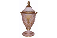 "Cambridge Portia Crown Tuscan #3500 /41 Gold Decorated Covered 10"" Urn"