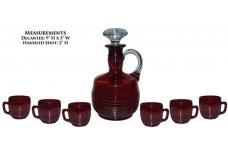 Cambridge Tally Ho Carmen (Ruby) Decanter and 6 - 2.5 Ounce Whiskey Mugs