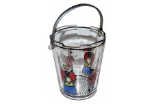 Dunbar / West Virginia Glass / Crystal Deco Ice Bucket with Tongs & Dutch Figure