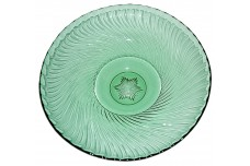 "Duncan and Miller Spiral Flutes Green Large Round 12"" Flared Console Bowl"