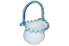Fenton Aqua Crest #680 Ruffled Basket - Good Color and Crimping