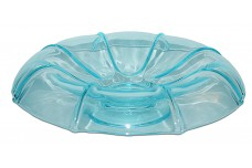 Fenton Aquamarine Blue #857 Special Rolled Edge Footed Bowl