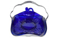 "Fenton Royal Blue (Cobalt) #1621-E 9"" Dolphin Handled Bowl"
