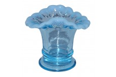 Fenton Blue Opalescent #37 Oval Crimped Vase H.T.F.