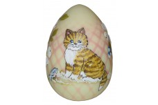 Fenton Hand Painted Burmese Diamond Optic Blown Egg / Marilyn Wagner Cat / Kitty