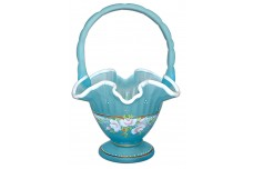 Fenton /QVC Blue Topaz Satin Basket / White Cloud Crest HP Charleton Collection -Bill Fenton