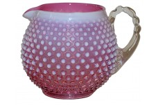 Fenton Hobnail Cranberry Opal #3965 Squat Jug / Pitcher