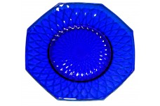 "Fenton Royal Blue / Cobalt Diamond Optic #1502-7 1/2"" Octagonal Plate"