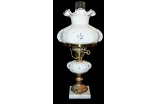 Fenton Elizabeth1990s #9308 Silver Crest Student Lamp SIGNED BY L .EVERSON