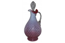 Fenton Hobnail Cranberry Opalescent #389 Handled Decanter - SCARCE