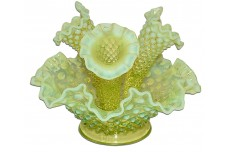 Fenton Hobnail Topaz / Yellow Opalescent #3801 Miniature / Apartment Epergne Set