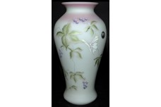 Fenton Butterfly and Berry Lotus Mist HP N. Fenton Burmese Vase