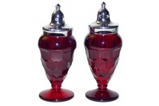 Fenton Georgian Ruby Footed Shakers - Guaranteed to be Fenton