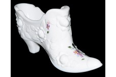 Fenton Roses Slipper with  Violets in the Snow Hand Painted Decoration