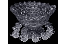 "Fostoria American 14"" Punch Bowl / 12 Cups and Ladle"