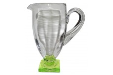 Fostoria Deco #4020 Square Base Pitcher / Jug, Crystal with Green Base