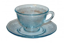 Fostoria June Azure (Blue) #2375 Cup and Saucer