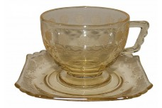 Fostoria New Garland Topaz (Yellow) #2419 Footed Cup and Saucer