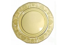 "Fostoria Trojan Yellow Large 10 1/4"" Dinner Plate SUPER NICE!"