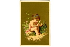 "Great American Tea Company "" How Pretty"" Trade Card - Child at the Beach"