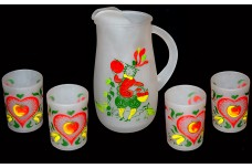 Hazel Atlas Gay Fad Studios Frosted Provincial Juice Pitcher and Tumbler Set