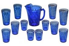 Hazel Atlas Diamond Optic / Quilt Cobalt Pitcher and 12 Tumblers (Ice Tea, Water, Juice)