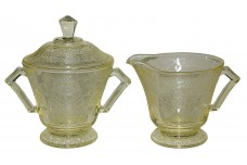 Hazel Atlas Florentine 2 / Poppy Yellow Creamer / Sugar and Lid