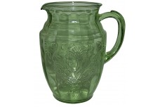 Hazel Atlas Florentine Green Blown / Bulbous Pitcher / Jug- Hard To Find