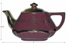 Hall China Baltimore Maroon Gold Label Teapot DONE