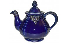 Hall China Thorley Grape Vintage Cobalt and Gold Teapot