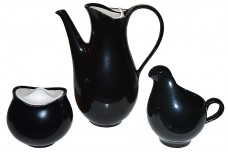 Hall China Deco Tomorrow's Classic Black and Hi-White Coffee Pot Sugar & Creamer