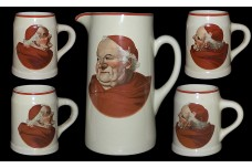 Hall China Red Monk Decal Tankard Jug / Pitcher and 4 Mugs