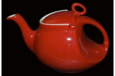 Hall China Chinese Red Streamline Teapot- GREAT GLAZE!
