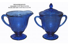 Hazel Atlas Royal Lace Cobalt Blue Scarce Creamer / Sugar and Lid