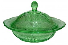 Hazel Atlas Royal Lace Green Covered Butter Dish