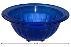 "Hazel Atlas Cobalt Ribbed 10 3/4"" Mixing Bowl--SCARCE"