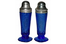 Hazel Atlas Cobalt Royal Lace Salt and Pepper Shaker Set