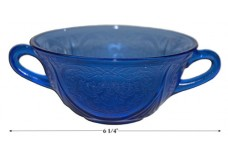 Hazel Atlas Royal Lace Cobalt Cream Soup Bowl