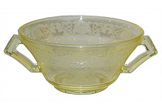 Hazel Atlas Florentine 2 / Poppy Yellow Cream Soup Bowl