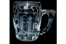 Heisey #1404 Old Sandwich Crystal 12 oz. Mug / Unusual Wheel Cutting