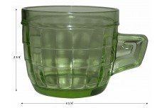 Hocking Block Optic Hard to Find Green Mug - Uraninum Glass