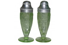 Hocking Glass Company Cameo Green Salt and Pepper Shakers