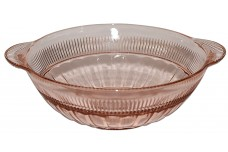 "Hocking Coronation 6 3/4"" Pink Handled Nappy Bowl"