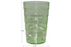 "Hocking Green Block Optic 3 5/8"" Juice Tumbler - Uranium Glass"