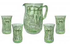 Hocking Pinch Green Depression Glass Kitchen Pitcher & 4 Tumblers