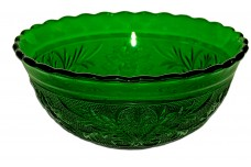 "Hocking / Anchor Hocking Sandwich Forest Green 6 3/8"" Scalloped Rim Bowl DONE"