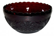 "Hocking Sandwich Ruby 5 1/2"" Scalloped Bowl"