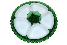 Anchor Hocking Waterford Large Green Tray with White Inserts and Green Center